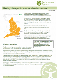 Environment Agency - Making Changes to your local watercourses